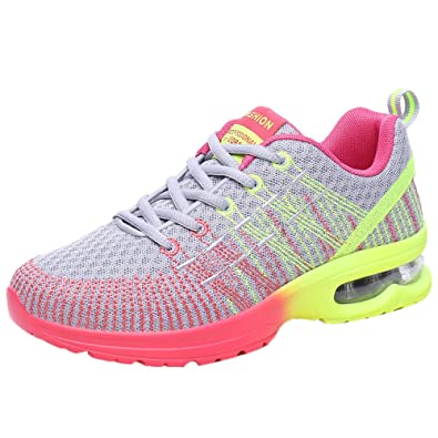 7a0f39174 Rawdah Women Fashion Breathable Comfortable Athletic Lightweight and  Wearable Sport Sneakers Running Shoes Hot Pink Gray