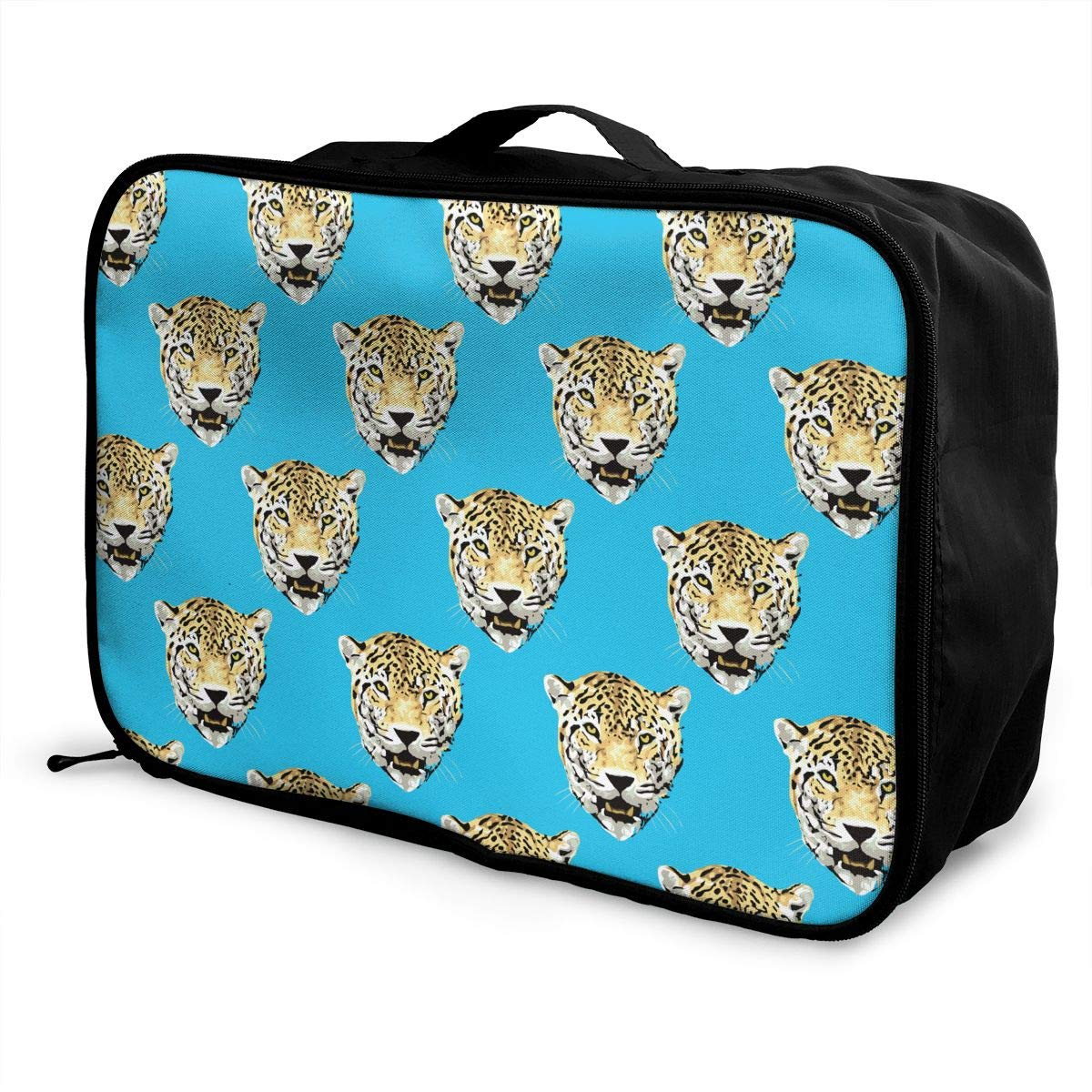YueLJB Wild Leopard Head Lightweight Large Capacity Portable Luggage Bag Travel Duffel Bag Storage Carry Luggage Duffle Tote Bag