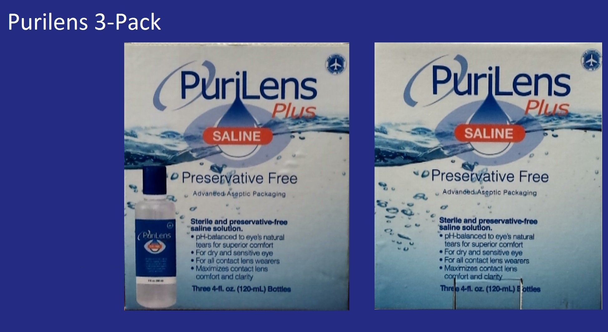 PuriLens Plus Preservative Free Saline Three 4-fl. oz(120-mL) Bottles