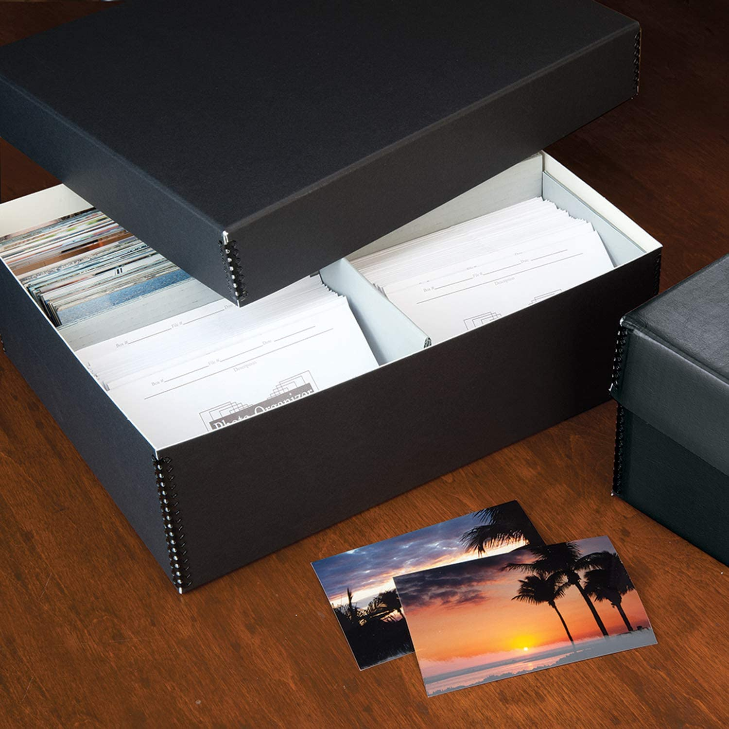Holds up to 1700 of 4x6 Reports. Docs Lignin-Free Photo Organizer Lineco Black Archival Photo Storage Box with Removable Lid 15.5 x 12 x 5 Without Envelopes Store /& Protect Prints