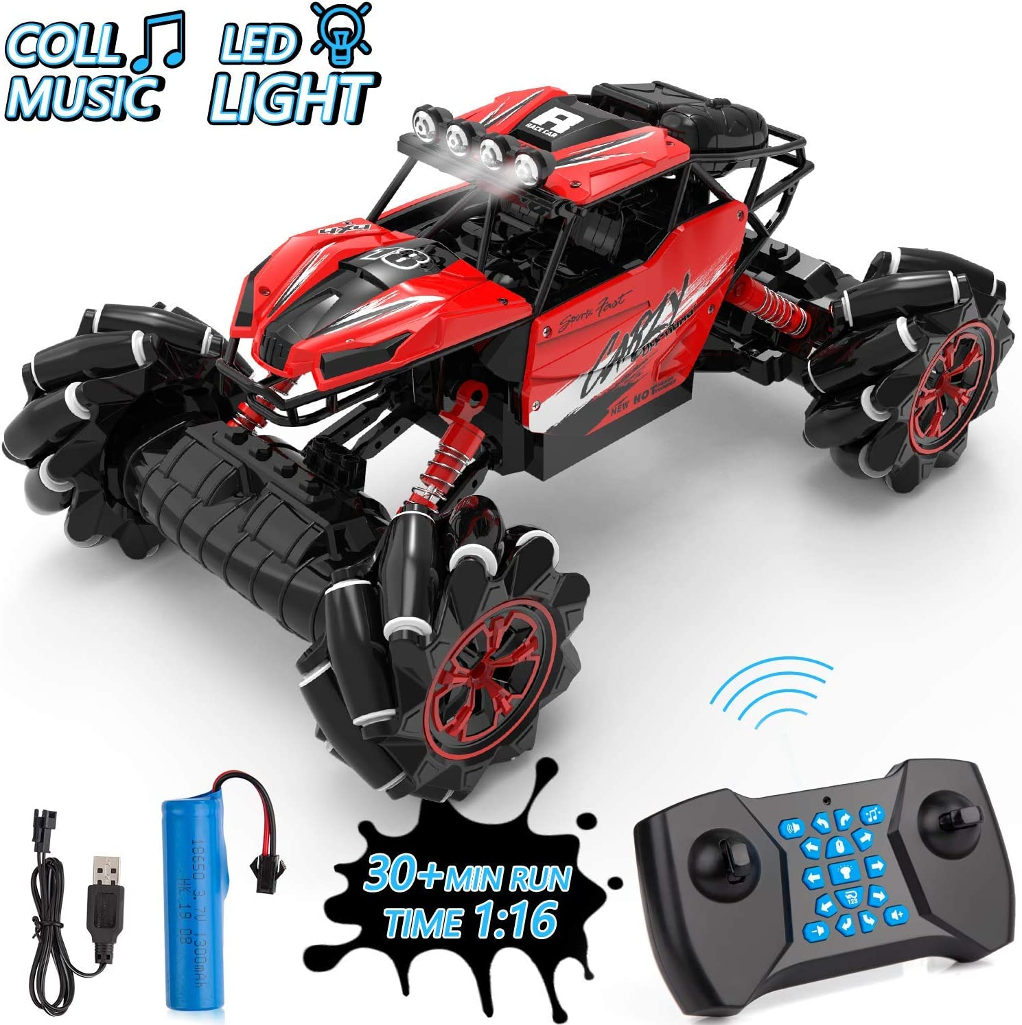MAO MAO JEWELRY Drift Remote Control Car 1: 16 Rechargeable RC Truck 2.4 Ghz 4WD High Speed Off Road Vehicle with LED Lights & Music, Car Toys for Boys Girls (Red)
