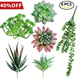 AmyHomie Unpotted Fake Succulents, Assorted Faux Hanging Succulents Textured Faux Succulent Pick Hanging String of Pearls Plant for Wedding Centerpieces(set of 6)