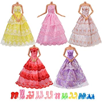 Asiv 5 Moda Vestidos Hecho a Mano, 10 Pares de Zapatos para Barbie Muñecas (