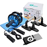Odoland 3-In-1 Ab Wheel Roller Kit - Ab Roller Pro With Push-Up Bar, Jump Rope And Knee Pad - Perfect Abdominal Core Carver Fitness Workout For Abs