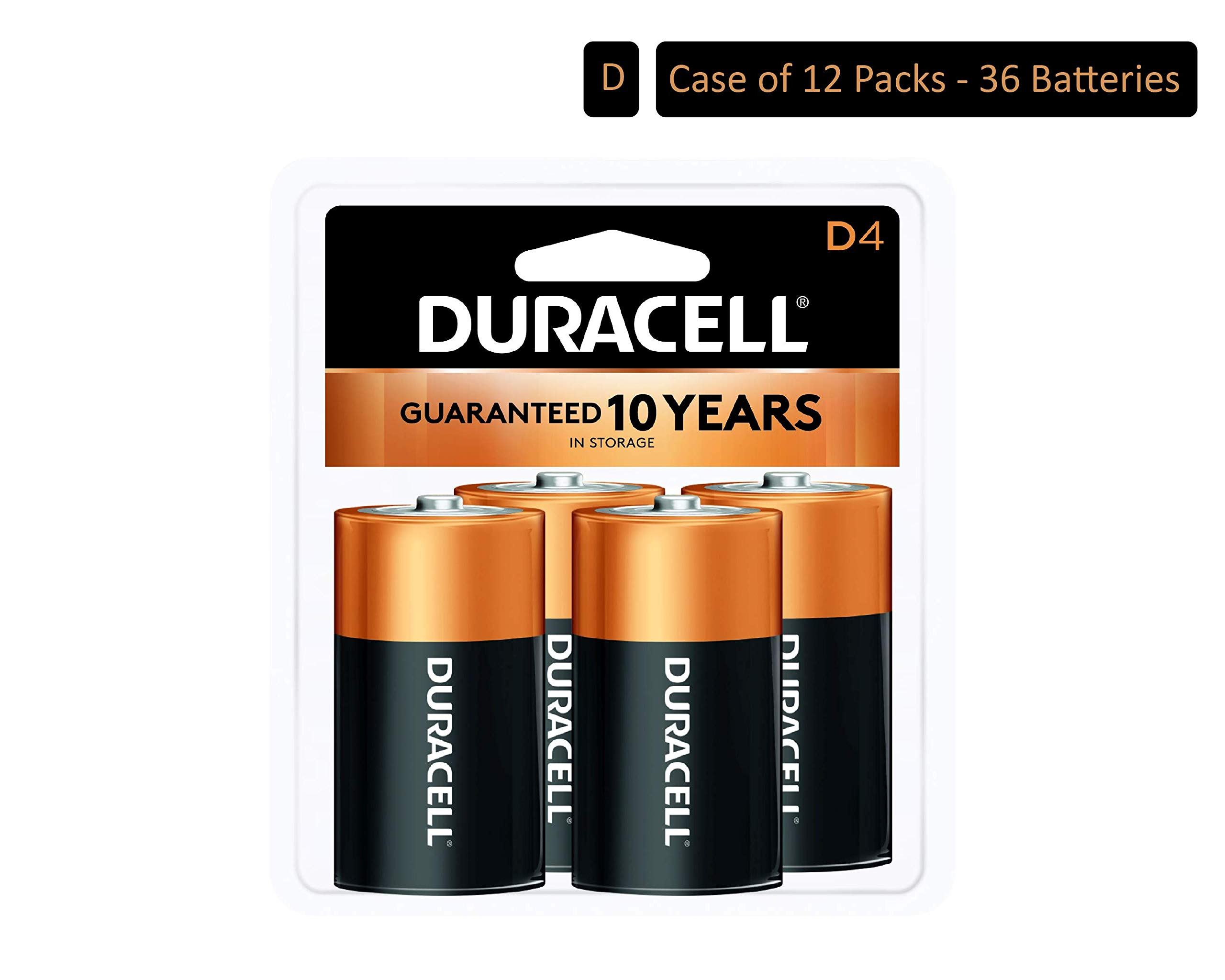 Duracell - CopperTop D Alkaline Batteries with recloseable package - long lasting, all-purpose D battery for household and business - 4 count (Pack of 12) by Duracell
