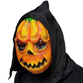 Antifaz Halloween con Capucha | Máscara de Calabaza | Mascarilla Calabaza | Careta de Terror Zapollo