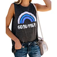 Good Vibes T-shirts Round Neck Sleeveless Womens Rainbow Print Basic Tank Tops