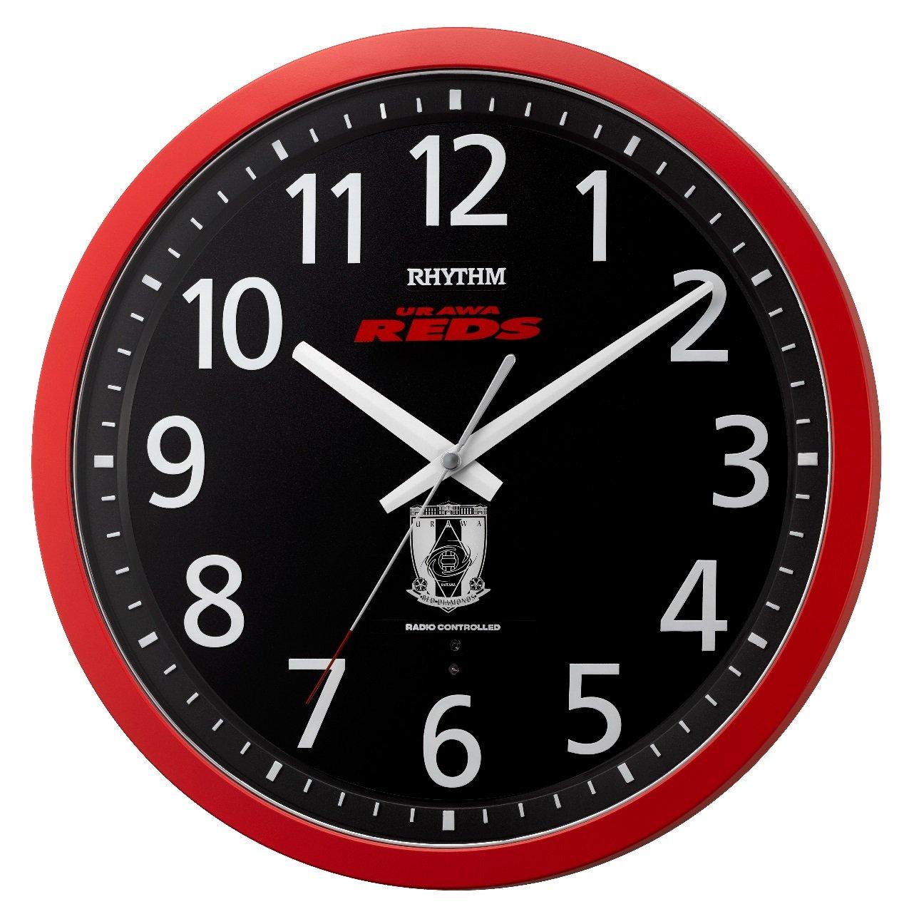 URAWA REDS ( 浦和レッズ ) 掛け時計 電波 アナログ 連続秒針 赤 リズム時計 8MY523RD01 B06XNLVNKP