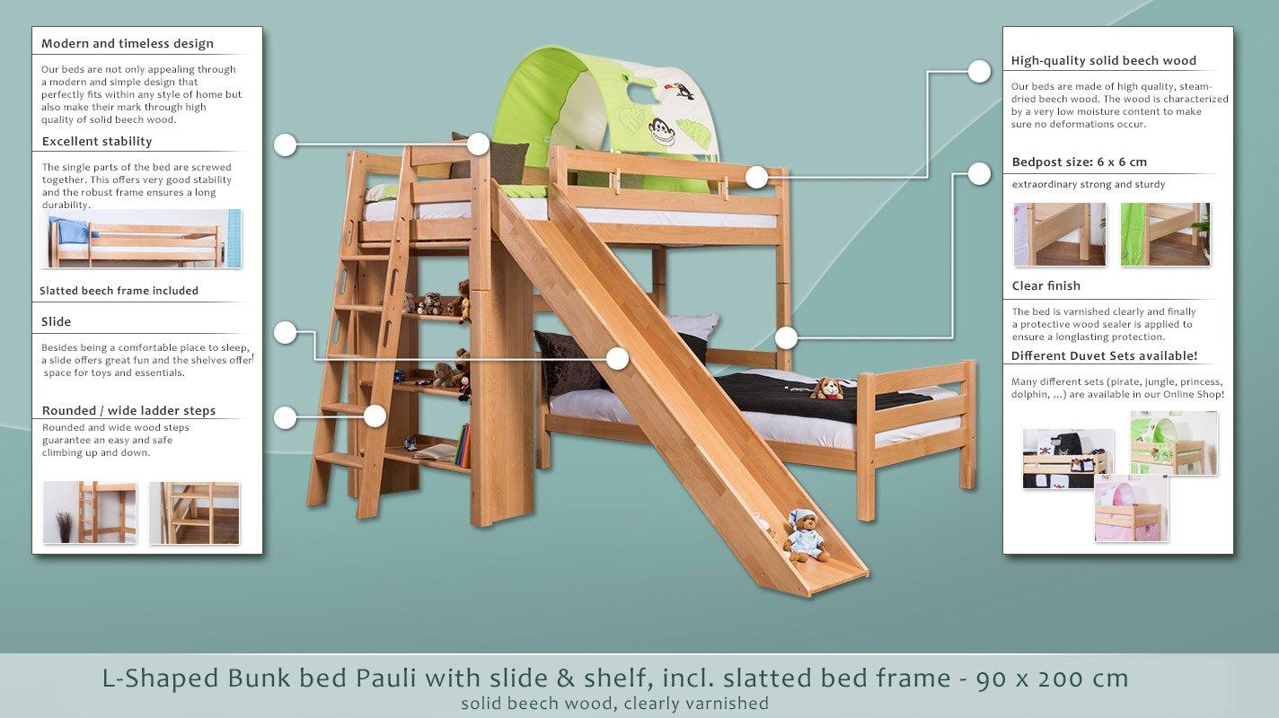 Kinder Etagenbett Pauli : Kinderbett etagenbett pauli buche vollholz massiv natur mit regal