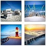 Ostsee Nordsee Set A schwebend, 4-teiliges Bilder-Set jedes Teil 29x29cm, Seidenmatte Optik auf Forex, moderne Optik, UV-stabil, wasserfest, Deko für Büro, Wohnzimmer, Urlaub und Meer Sonnenuntergang