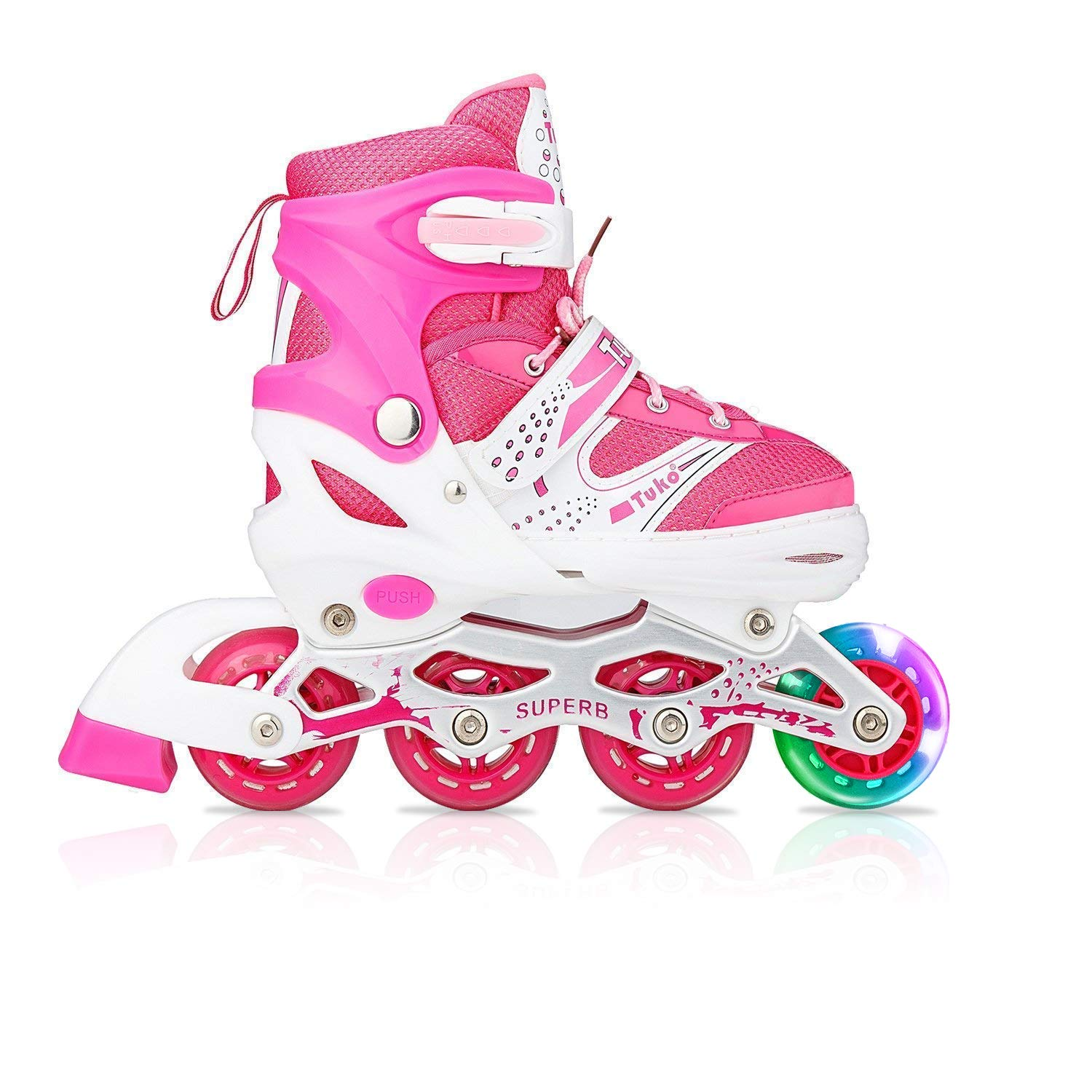Tuko Kids Adjustable Roller Skates Girl Blades Illuminating Inline Skates(Small-Little Kid(12-1 US))