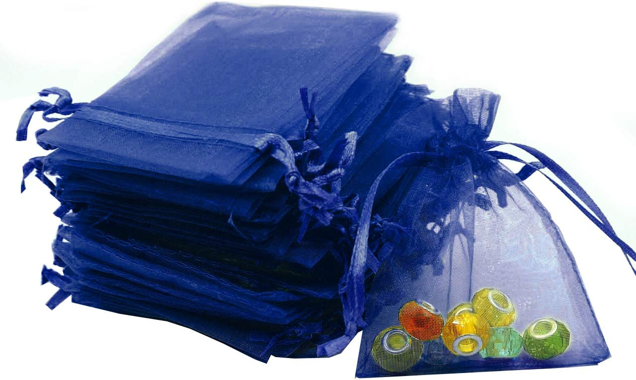 "Outdoorfly 100PCS Organza Bags 4x6"" Navy Blue Drawstring Jewelry Favor Pouches Bags for Baby Shower Party Wedding Favor Gift Bags Candy Sample Bags (Navy Blue)"