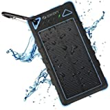 ZiKON Solar Power Bank, High Capacity Waterproof Portable 8000mAh Charger, Dual USB Solar Powered Battery Charger for iPhones, iPads, Samsung, Tablets, Cameras. Dustproof & Shockproof (Blue)