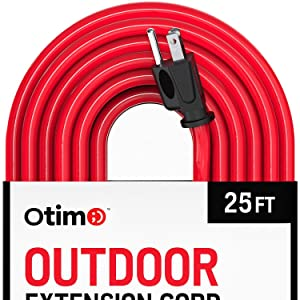 Otimo 25 ft 12/3 Outdoor Extra Heavy Duty Extension Cord - Professional Series - 3 Prong Extension Cord, Red