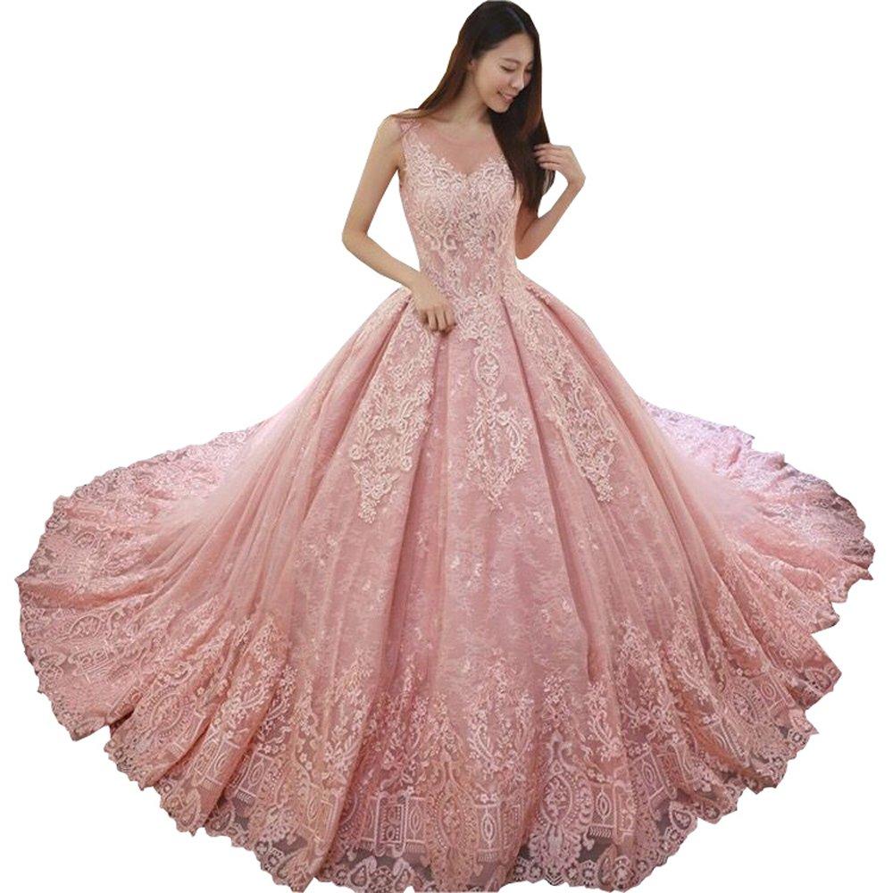 Sheer Neckline Lace Wedding Dresses Train Ball Gowns Applique Cap