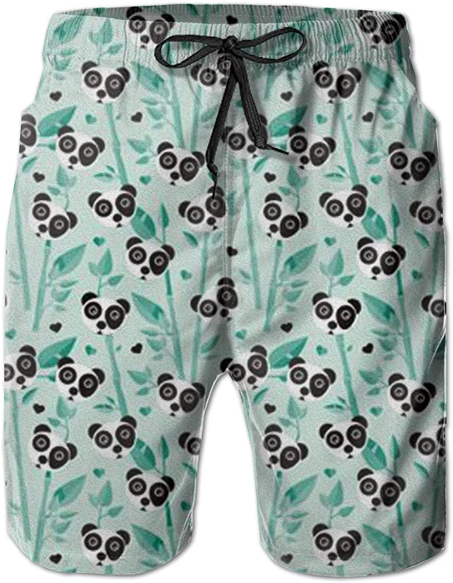 Mens Swim Trunks Bamboo and Panda Quick Dry Beach Board Shorts with Mesh Lining