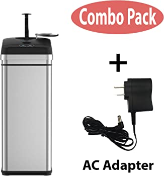 iTouchless Squeeze Best Trash Compactors Garbage Can with Sensor Lid, Battery Free Operation to Compact Waste from 13 to 20 gallon Capacity...