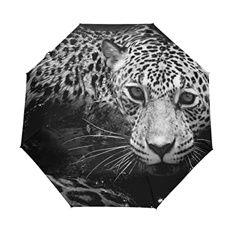 COOSUN Blanco y Negro Retrato de Jaguar automático 3 Plegable del Paraguas del Parasol Color #