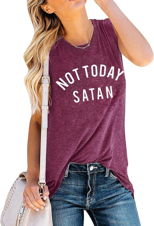Umsuhu Not Today Satan Tank Top Women Funny Sayings Tank Tops Letter Printed Sleeveless Casual Tank Tops Shirt