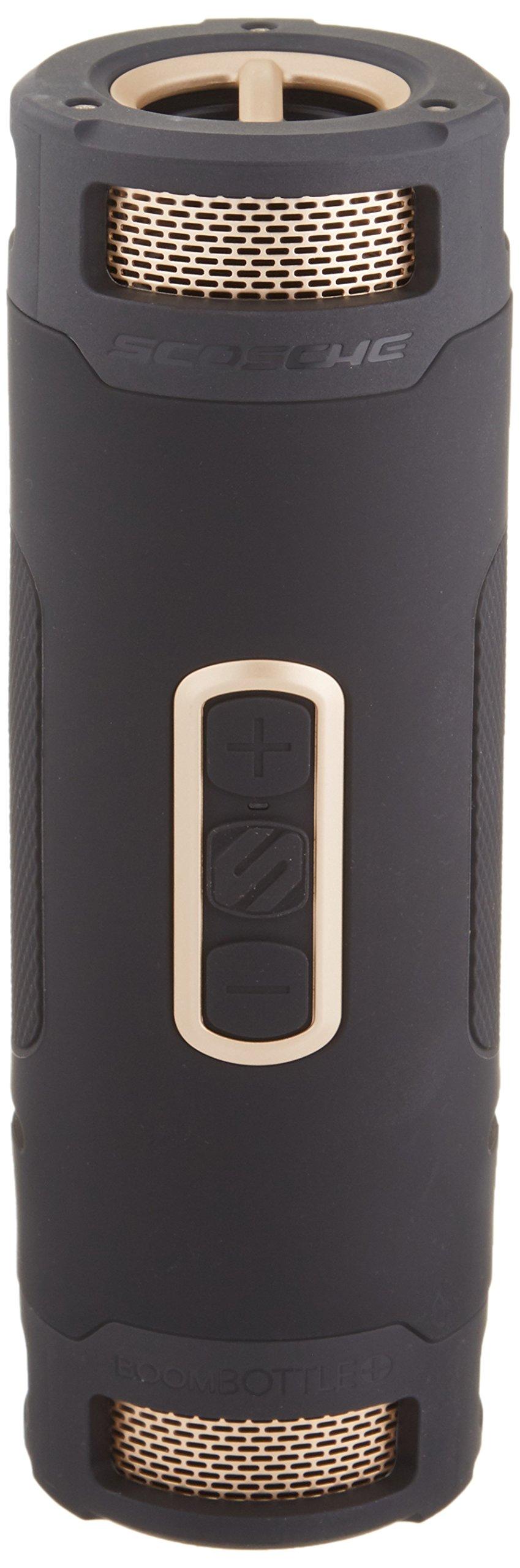 SCOSCHE BoomBottle+ Rugged Waterproof Portable Wireless Bluetooth 4.0 Speaker - Dual 360-Degree 12 Watt 50mm Speakers with Subwoofer and Indoor/Outdoor EQ Functions - Black/Gold (BTBPBKGD)