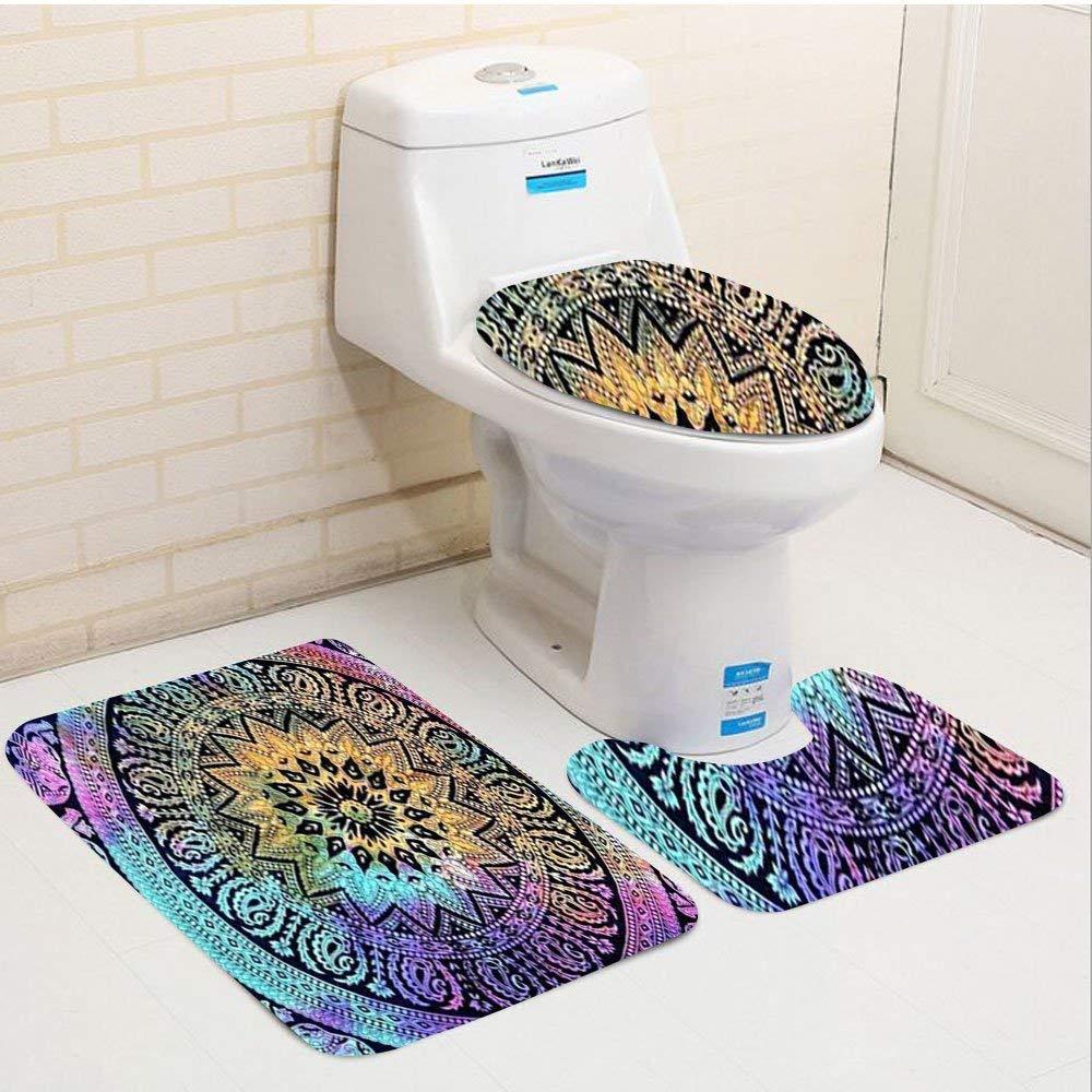 Bath Mat Sets Contour Rug U-Shaped Toilet Lid Cover,Popular Tye dye Elephant Mandala Round Roundie Beach Throw Indian Hippi Non Slip,Machine Washable,3-Piece Rug Set Easier to Dry for Bathroom