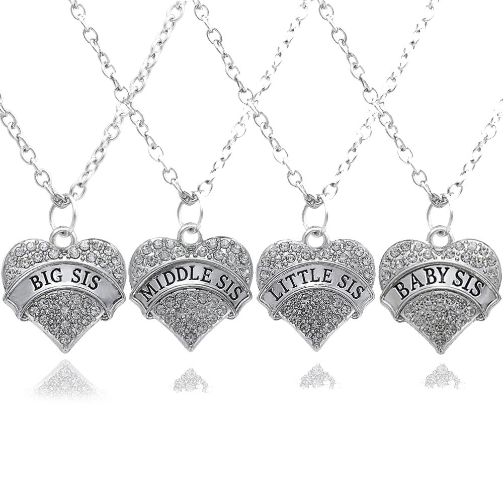 4pcs Big Middle Little Baby Sister Love heart Pendant Necklace Set Family Jewelry Gift for Women Girl lauhonmin XL0095TZ@#67