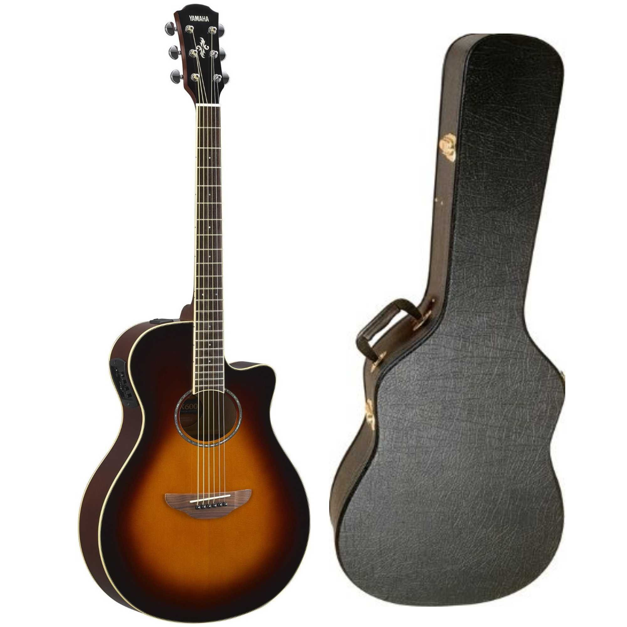 yamaha apx600ovs thinline acoustic electric guitar old violin sunburst with hardshell guitar. Black Bedroom Furniture Sets. Home Design Ideas