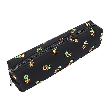 Pineapple Pencil Case Zipper Canvas Pen Pouch Bag for Women Girls Kids Teens (Black)