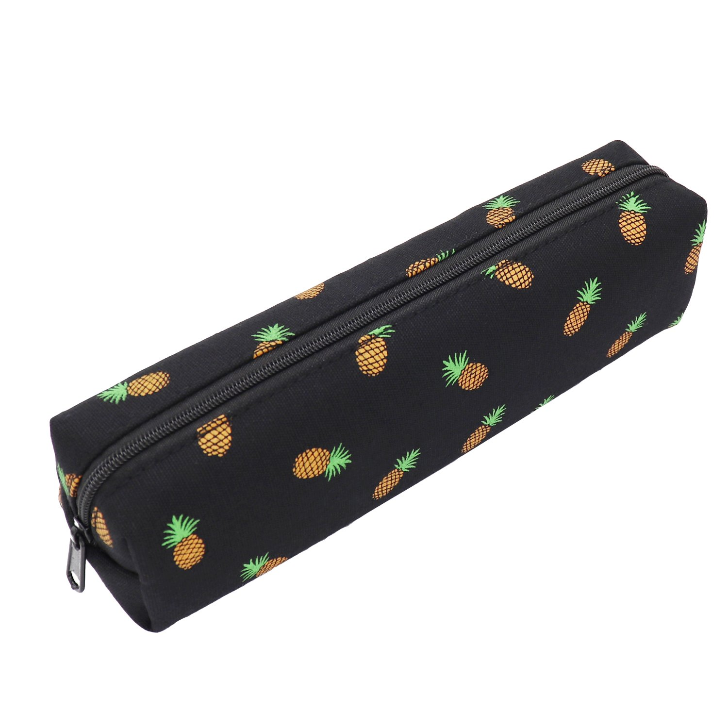 Pineapple Pencil Case Zipper Canvas Pen Pouch Bag for Women Girls Kids Teens (Black)