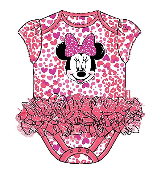 "34a22b38e Disney Minnie Mouse ""hearts"" Infant Creeper Romper with Ruffle ..."