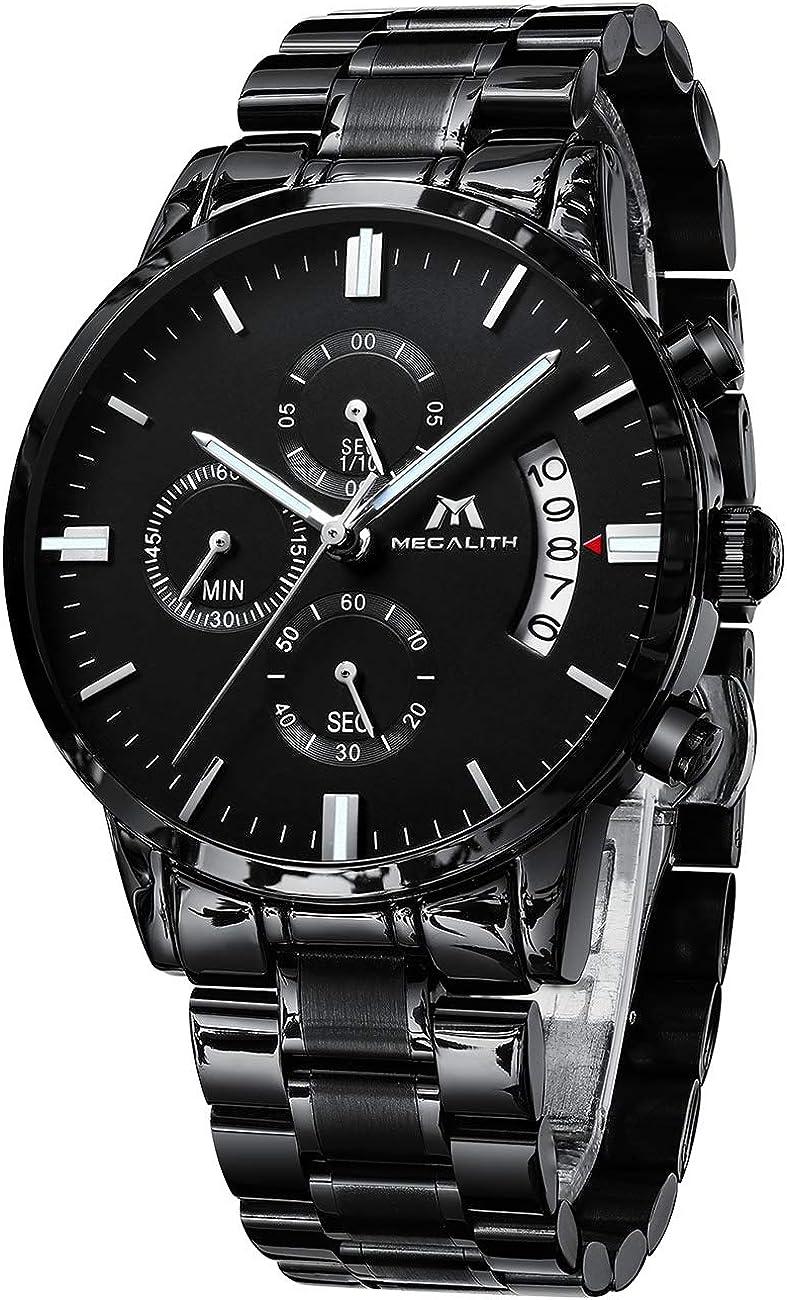 Relojes Hombre Relojes Grandes de Pulsera Deportivos Militares Cronografo Impermeable Analogico Diseñador Reloj de Acero Inoxidable Malla Negro Calendario Luminosos