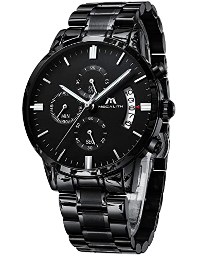 f6d4504a90627 Montre Homme Montre Militaire Etanche Chronographe Sport Acier Inoxydable  Noir de Luxe Design Montres Bracelets Date