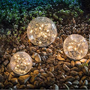 "Garden Solar Lights, Cracked Glass Ball Waterproof Warm White LED for Outdoor Pathway Walkway Patio Yard Lawn, 1 Globe (3.94"")"