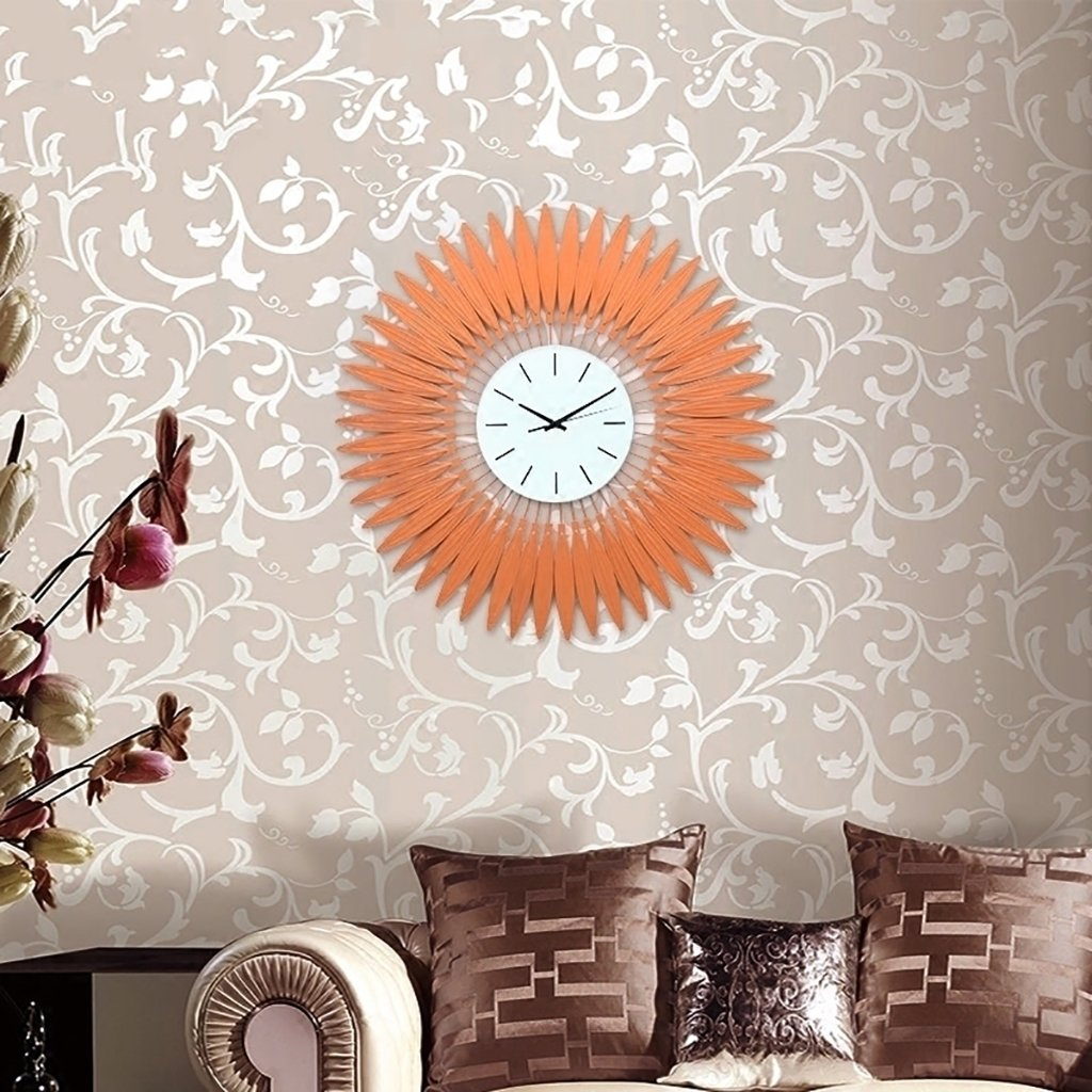 人気沸騰ブラドン ウォールクロック アイロンサイレントクォーツ時計日フラワースタイルの創造性の壁の看板子供の部屋吊り装飾インチ Orange B07dchfj22orange 置き時計掛け時計 Csam Archives Gov Ua
