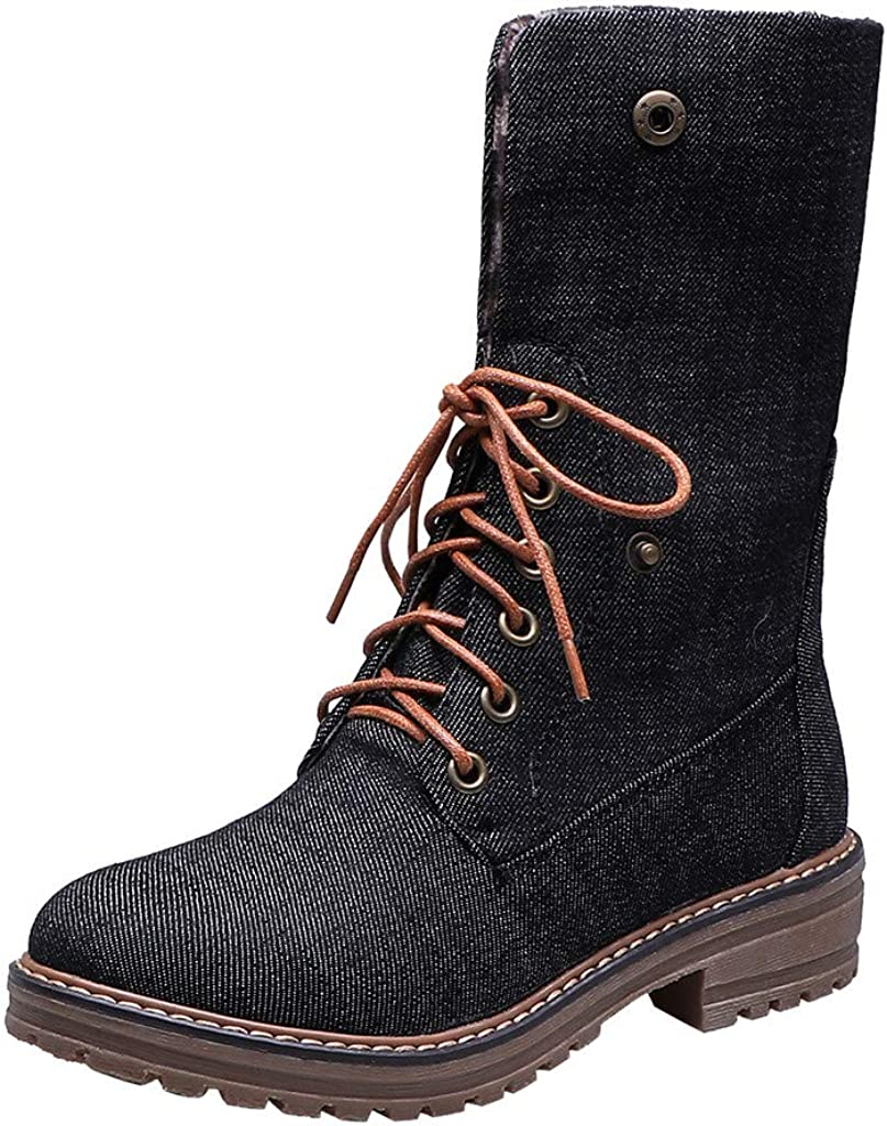 Dermanony Women's Lace-up Fashion Boots Foldable Pure Color Round Toe Short Boots Square Heels Vintage Denim Boots