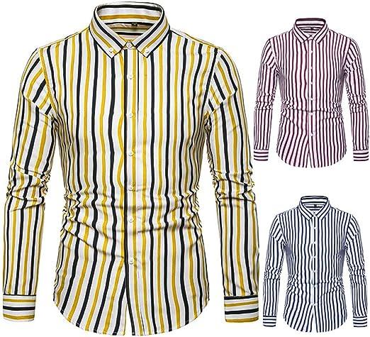 Briskorry Camisa para hombre de corte ajustado, de rejilla de ...