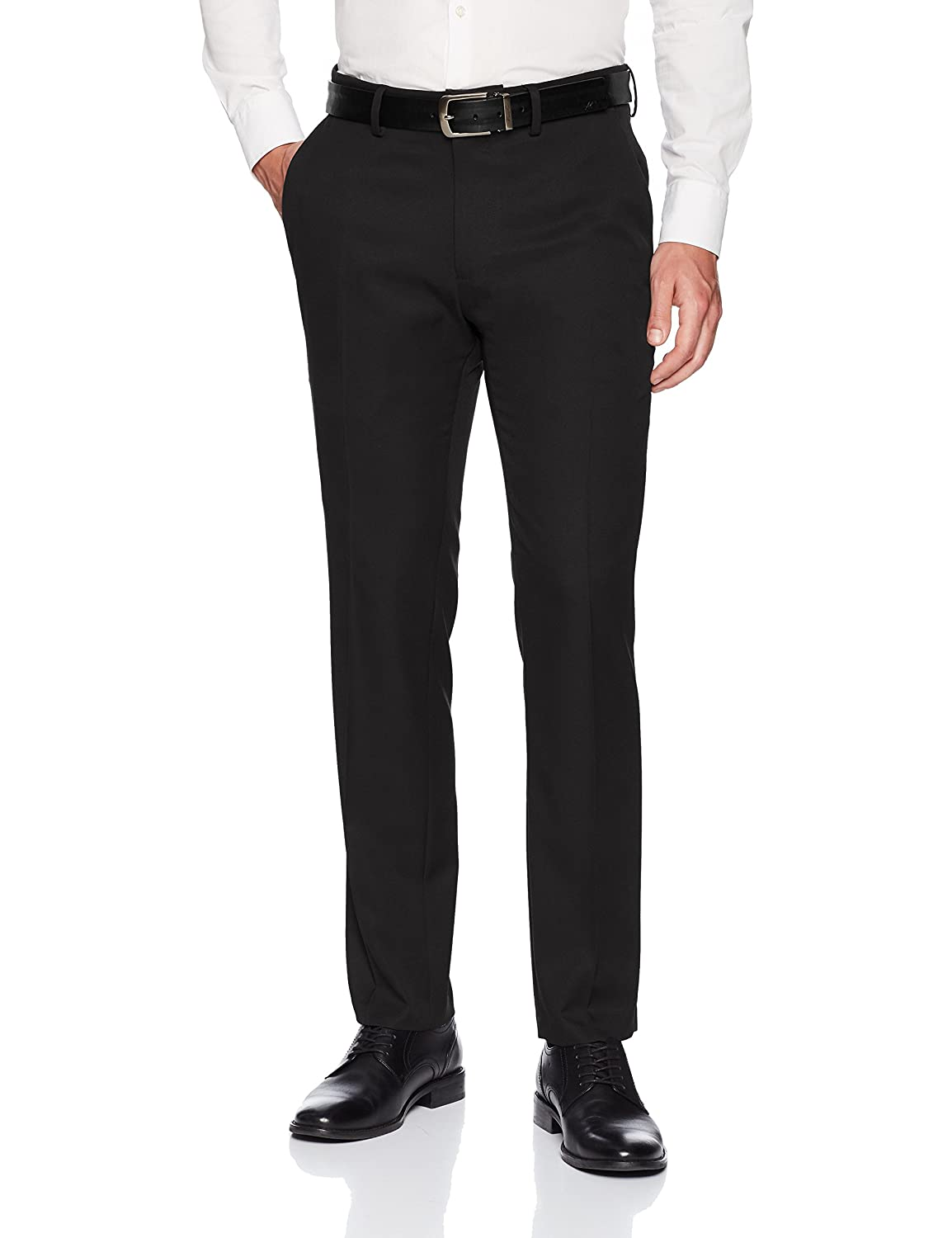 Kenneth Cole REACTION Mens 4-Way Stretch Solid Gab Slim Fit Flat Front Dress Pant KD00482