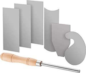 Fulton Scraper Burnisher with 6 Piece Multi-Shaped Scraper Set 3 Rectangle 1 Beveled 1 Curved (Convex and Concave) and 1 Gooseneck Scraper