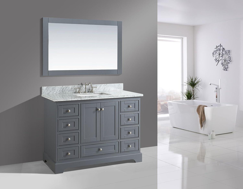 Jocelyn 48-Inch Bathroom Sink Vanity Set with White Italian Carrara Marble Top UrbanFurnishing.net Blue 48