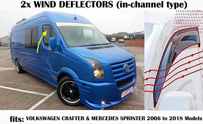 Set Of 2 STICK ON TYPE Wind Deflectors Compatible with MERCEDES SPRINTER /& VW CRAFTER 2006 to 2018 Models Acrylic Glass Side Visors Window deflectors