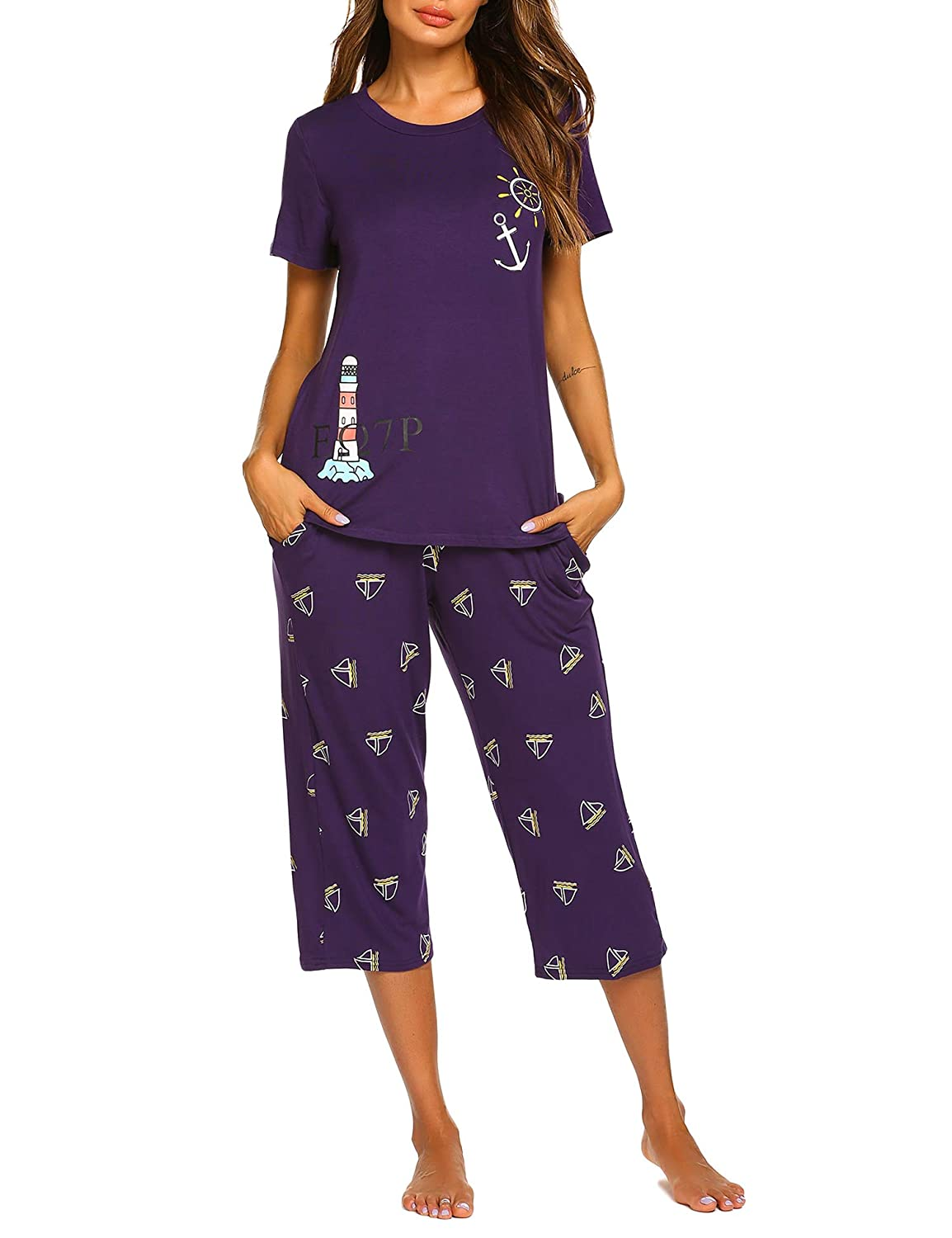 Patternpurple MAXMODA Women's Soft Pajama Set Sleepwear Short Sleeve Shirt and Capri Long Pants Sleepwear