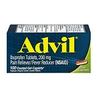 Advil Ibuprofen Coated Gel Caplets 200 mg - 100 ct, Pack of 2
