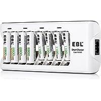 EBL Chargeur de Piles AA AAA 8 Slots Piles Rechargeables Ni-MH [4 pcs] AA 2800mAh [4 pcs] AAA 1100mAh