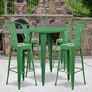 """Flash Furniture Commercial Grade 30"""" Round Green Metal Indoor-Outdoor Bar Table Set with 4 Cafe Stools"""