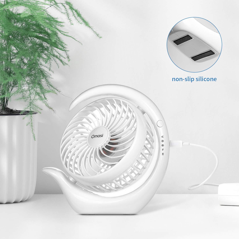 etc. Gimnasio Viajar Oficina Blanco Acampar Omasi Ventilador USB Mini 3600mAh Fan Silencioso Recargable Port/átil Ventilador de Mesa Oscilante 360/° Girar para Coche