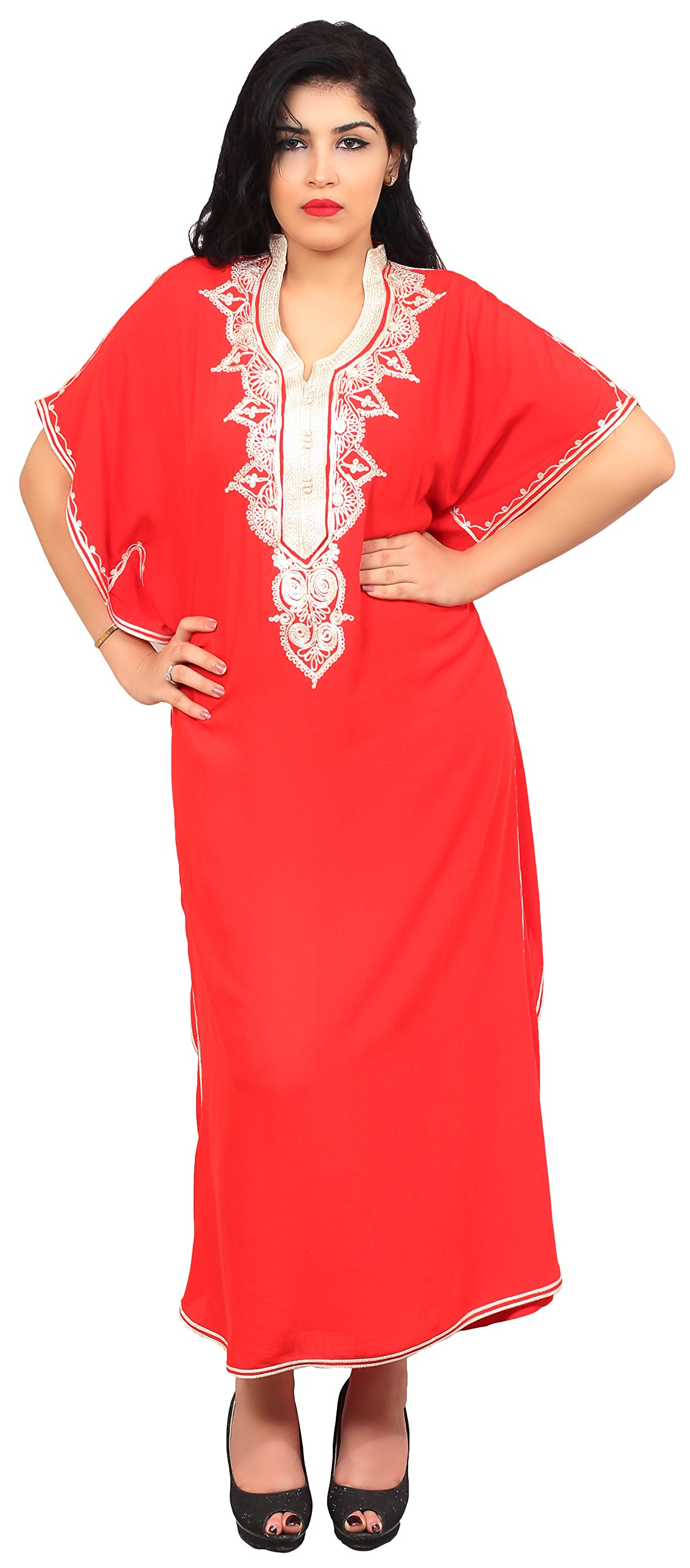 Moroccan Caftan Hand Made Top Quality Breathable Cotton with Hand Embroidery Long Length Red