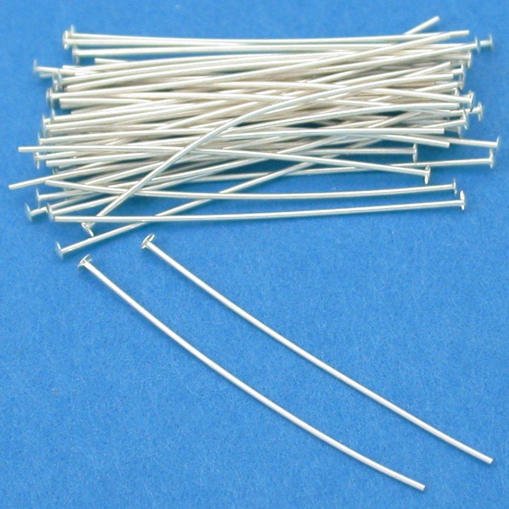 50 Sterling Silver Headpins Head Pins 26 Gauge 1 Inch