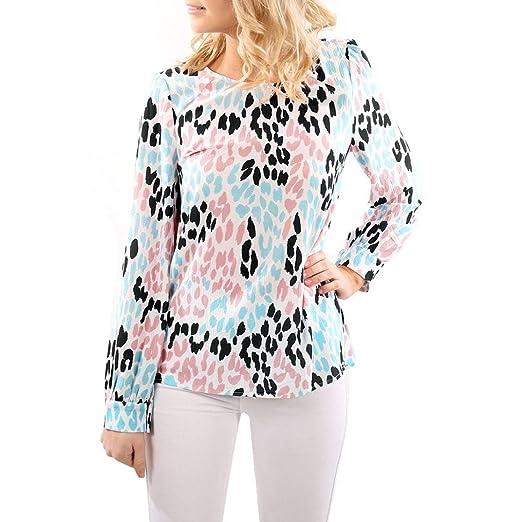 9d988d23545d Kimloog Women O Neck Colorful Leopard Print Button Sleeve Casual Loose  Blouse Tops T-Shirts