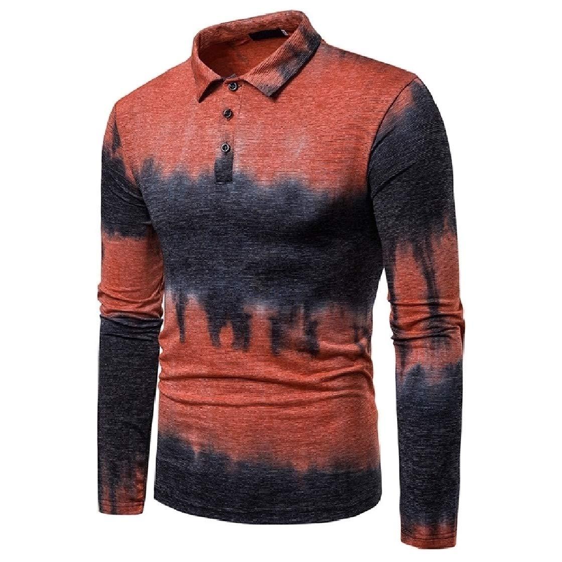 DressU Mens Leisure Business Plus Size Gradients Button Down Shirt