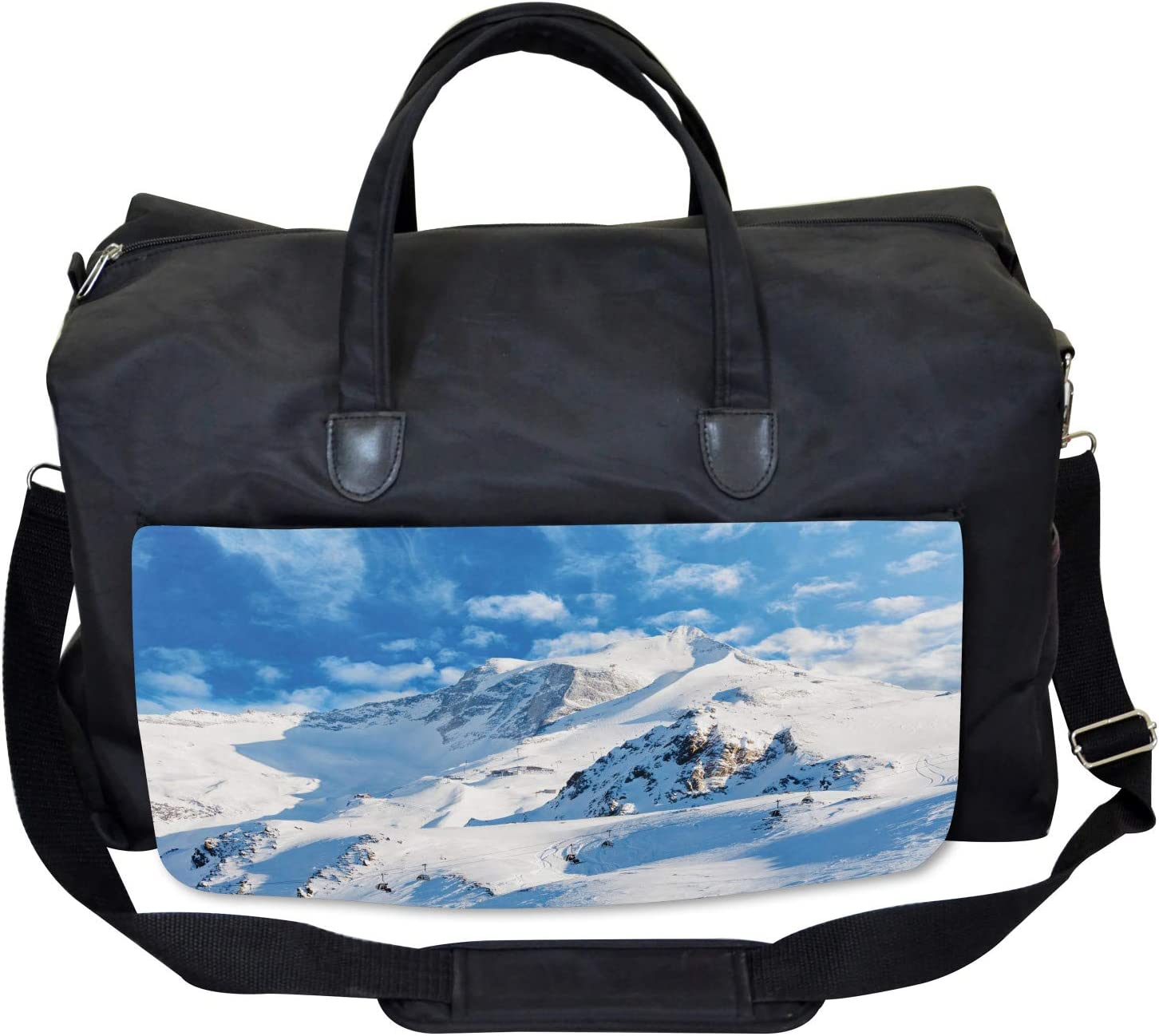 Snowy Mountain Ski Ambesonne Winter Gym Bag Large Weekender Carry-on